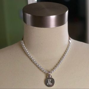 """Jewelry - Sterling Silver """"K"""" Pearl & Ribbon Necklace"""